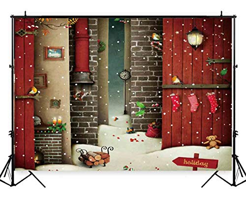Funnytree 7x5ft Christmas Snow Fairy Tale Backdrop Photography Winter Snowfall White Glitter Berry Chimney Birds Background Red Stocking Baby Child Kids Portrait Photo Studio Photobooth Props