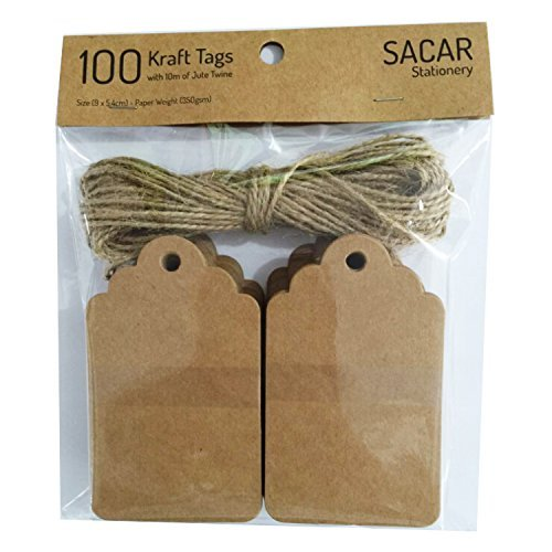 100 Premium Brown Kraft Tags with 30 Meters of Jute Twine - For Use As Gift Tags, Wedding Favor Tags, Product Label / Price Tags or for Scrapbooking and Various (Labels Stationery Tags)