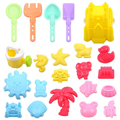 FUNNISM 22 Pieces Beach Sand Toy Set Sandbox Toys Including Castle, Coco,Animals Elephant/Duck/Bear/Rabbit/Fish/Seahorse/Octopus, Sun, Models and Molds, Bucket, Shovels and Rakes