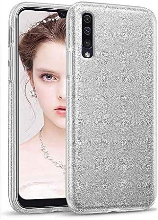 """Image ofCoovertify Funda Purpurina Brillante Plateada Samsung A70, Carcasa Resistente de Gel Silicona con Brillo Gris Plata para Samsung Galaxy A70 (6,7"""")"""