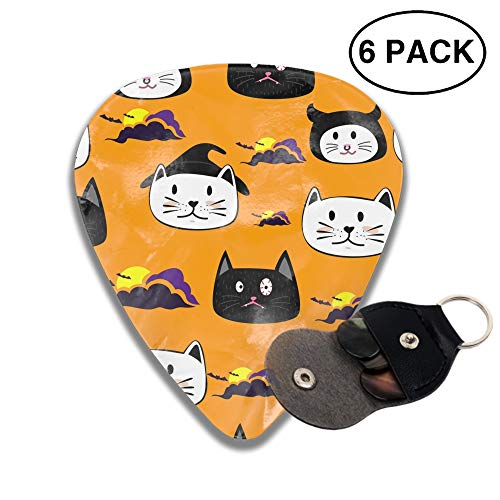 Cute Face CatCartoon Halloween Theme 3D Color Printed Guitar and Bass Pick Gift Brass ()