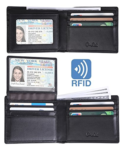 Mens Two Fold Wallet (O-LET RFID Wallet for Men Genuine Leather Front Pocket Bilfold Wallet With Money Clip and 2 ID Window)