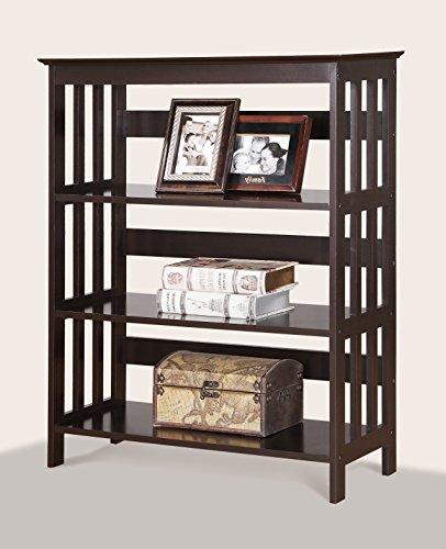 Roundhill Furniture Wooden 3 Shelves Bookcase, Espresso Finish