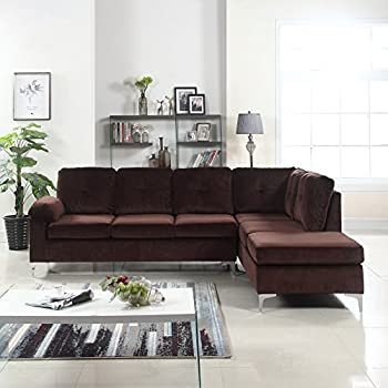 Modern Tufted Brush Microfiber Sectional Sofa, Large L Shape Couch (Brown)