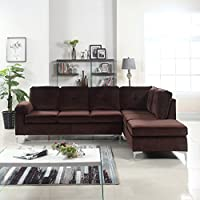 Modern Tufted Brush Microfiber Sectional Sofa, Large L-Shape Couch (Brown)