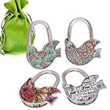 BMC 4pc Bird Design Shoulder Handbag Folding Purse Hangers Hook Set