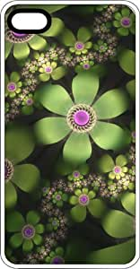 Abstract Green Blooming Flowers Clear Plastic Case for Apple iPhone 4 or iPhone 4s