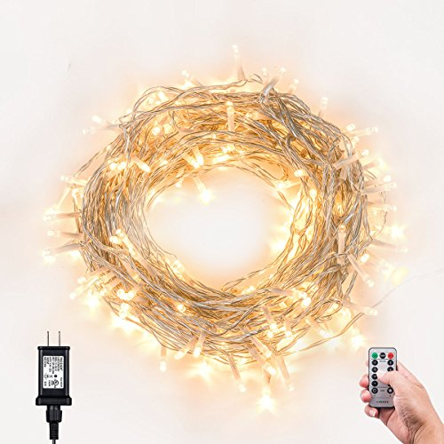 Christmas String Lights, 200 LED Dimmable Light Strand With Remote