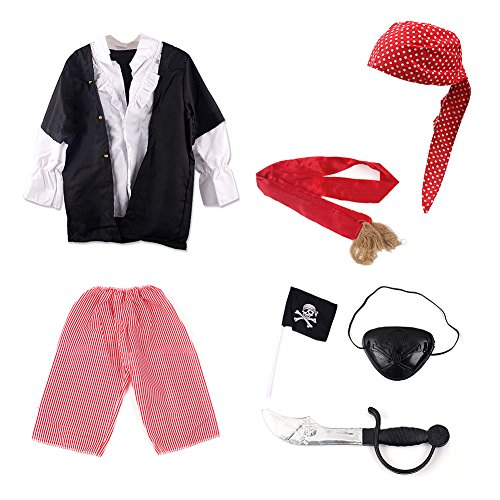 TopTie Pirate Role Dress Up Costumes For Child, Halloween Cosplay Idea (Little Girl Pirate Costume Ideas)