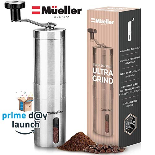 Mueller Austria Manual Coffee Grinder, Whole Bean Conical Burr Mill for French Press/Turkish-Strongest and Heaviest Duty, Packaging May Vary, Hand Size, Brushed Stainless Steel