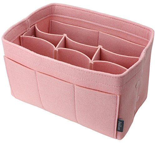 Pelikus Felt Purse & Tote Organizer Insert Shaper (Medium w/Center Divider, Blush Pink) - Felt Center