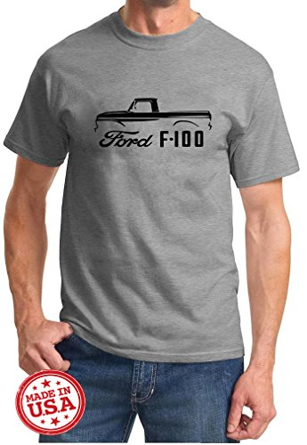 1961-66 Ford F-100 Pickup Truck Classic Outline Design Tshirt XL Grey