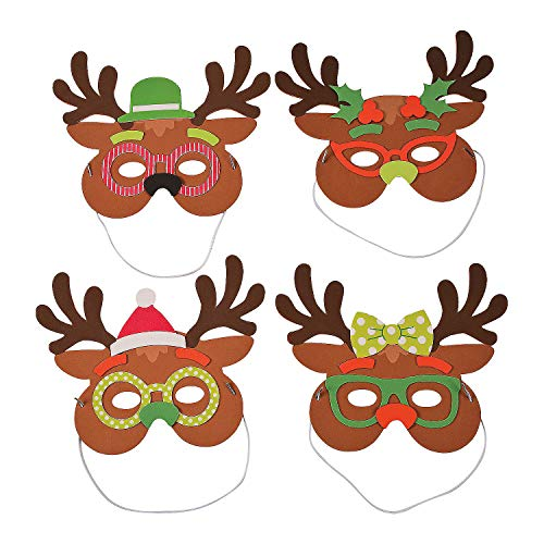 Fun Express - Silly Reindeer Mask CK-12 for Christmas - Craft Kits - Apparel Craft Kits - Hat & Mask - Christmas - 12 Pieces