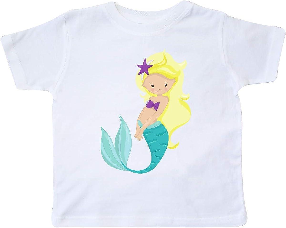 inktastic Cute Little Mermaid Blonde Hair Purple Sea Star Toddler T-Shirt
