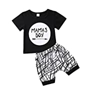 Baby Boys Outfit Mamas Boy Pint Short Sleeve T-Shirt+Striped Leggings Pants Clothes Sweatsuit Set (Black, 6-12 Months)