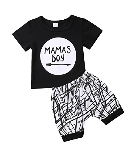 Baby Boys Outfit Mamas Boy Pint Short Sleeve T-Shirt+Striped Leggings Pants Clothes Sweatsuit Set (Black, 0-6 Months)
