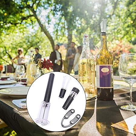 Regalo Fiesta con Abrebotellas Vino Fácil Botellas Vino con Aireador Sin Goteo Bomba Vino con Tapas de Botellas de Vacío Tapón de Vacío para Abridor de Botellas de Vino Para Banquetes Etc 4 Piezas
