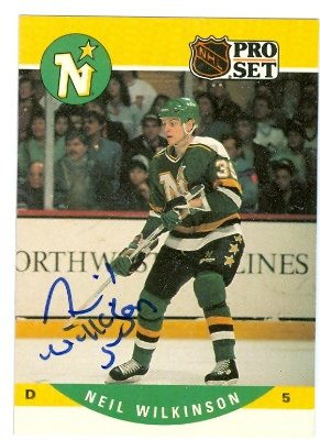 - Autograph Warehouse 60507 Neil Wilkinson Autographed Hockey Card Minnesota North Stars 1990 Pro Set No .465
