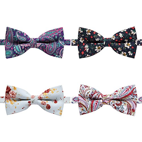 Floral Printed Adjustable Pre-tied Ties for Boys Mix set 4 Packs (Printed Bow Tie)