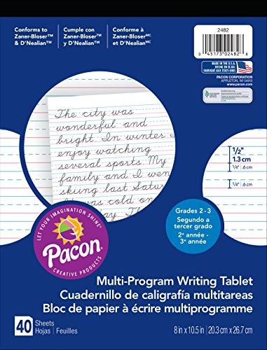 - Pacon  Handwriting Paper, D'Nealian Grades 2&3 / Zaner-Bloser Grade 2, 1/2
