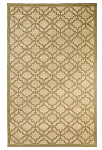 Outdoor Mats Flat weave Indoor Outdoor Rugs with Contemporary Festival Design Area Rugs Patio Rug Flooring Carpets (8x10-7'10''x9'10'', Green)