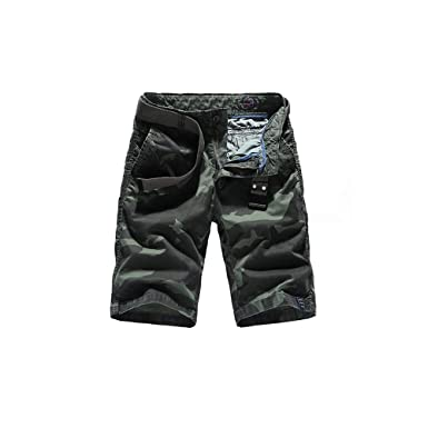 Mstyle Mens Casual Camouflage Plus Size Loose Cotton Cargo Shorts No Belt