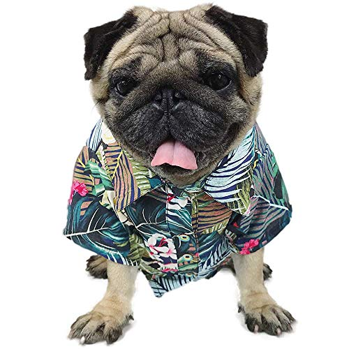 LAMONDE Hawaiian Dog Shirt, Summer Dog Clothes Apparel, Pet Camp Luau Outfits Costume for Puppy Cats, Frenchie Bulldog, Pug