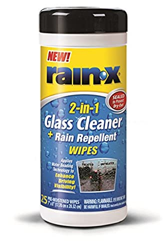 Rain-X 630022 Glass Cleaner and Rain Repellent Wipes - 25 Count (Rain Repellant Spray)