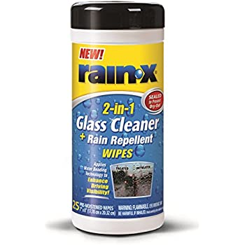 Rain-X 630022 Glass Cleaner and Rain Repellent Wipes - 25 Count