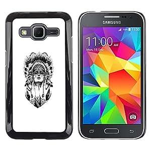 // PHONE CASE GIFT // Duro Estuche protector PC Cáscara Plástico Carcasa Funda Hard Protective Case for Samsung Galaxy Core Prime / Mujer del nativo americano /