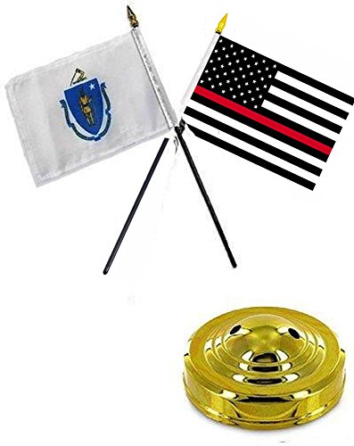 ALBATROS Massachusetts State with USA Fire Red 4 inch x 6 inch Flag Desk Set Table Stick with Gold Base for Home and Parades, Official Party, All Weather Indoors Outdoors ()