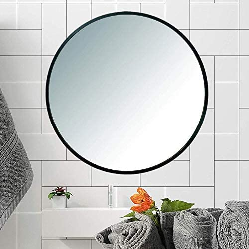 ProDecor Modern Art Circle Frame Wall Mirror – Floating Round Wall Mirror Glass – 24-Inch – Wall Mount Decorative Mirror – Metal Frame, for Entryways, Washrooms, Vanity, Living Rooms and More, Black