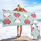 Jantrade Beach Towel, Cute Crab Ultra Soft Sand