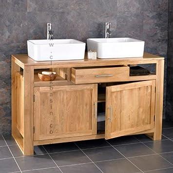 Clickbasin Cube Solid Oak Double Basin Two Door Cm Wide Bathroom Cabinet