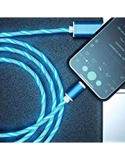 Gelentea Manyetik USB Kablosu, Parlayan LED Manyetik 3'ü 1 Arada USB Şarj Kablosu Hızlı Şarj Veri Kablosu Tüm Telefonlarla Uyumlu
