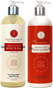 Spa Destinations DUO 16 ounce - Argan & Acai Body Wash and Argan & Acai Bod