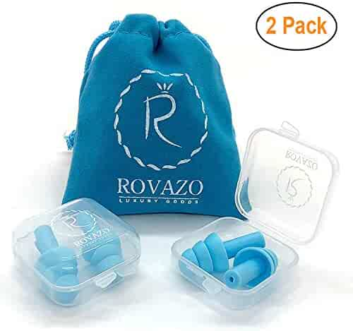 ROVAZO - Reusable Silicone Ear Plugs - 2 Pairs - NRR 32, Waterproof, Hypoallergenic - Ultra Comfortable Noise Reduction Earplugs for Swimming, Concerts and Airplanes - Bonus Travel Pouch