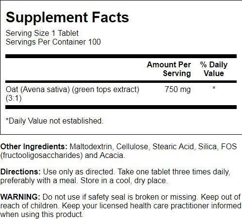 Natural Balance Avena Sativa Wild Oats 750 Mg, 100 Count