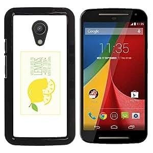 Motorola Moto G2 II / Moto G (2nd gen) / Moto G (2014) , Radio-Star - Cáscara Funda Case Caso De Plástico (When Life Gives You Lemons)