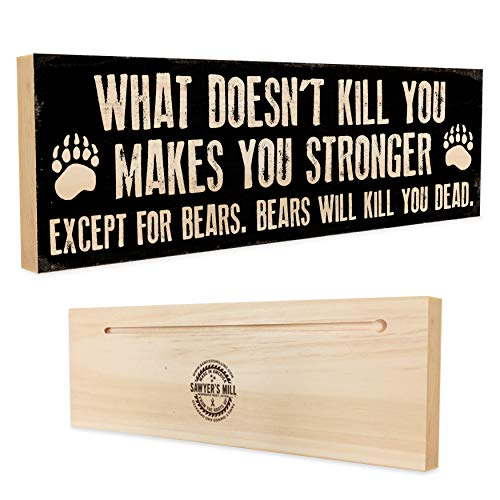 (What Doesn't Kill You Makes You Stronger, Except For Bears. Bears Will Kill You Dead - Wood Block Sign - Handmade in Nashville, TN)