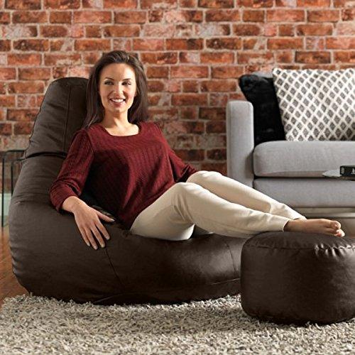 Ink Craft Bean Bag Chair & Matching Ottoman Combo - Indoor Outdoor High Back Bean Bags Cover XXXL Brown