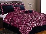 Twin 5 Piece Bedding Soft Short Fur Comforter Set Black / Hot Pink Zebra Bed-in-a-bag