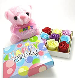 Birthday Rose Gifts, 9 rose flower bath bomb, and loverly happy birthday teddy bear.