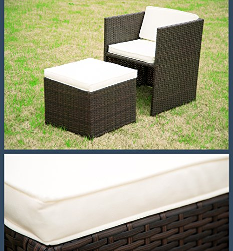 merax 9 piece outdoor cube rattan garden furniture set