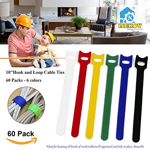 60pc 10 inch Cable Straps, Mekov, Hook and Loop Reusable Fastening Cable Ties Cord Wire Organizer for Home Office Tablet PC TV Wire Management (60 Pack, 10