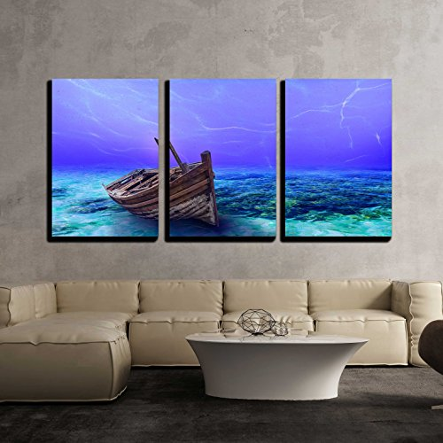 """wall26 - 3 Piece Canvas Wall Art - Underwater Wreck Background in The Sea - Modern Home Art Stretched and Framed Ready to Hang - 16""""x24""""x3 Panels"""