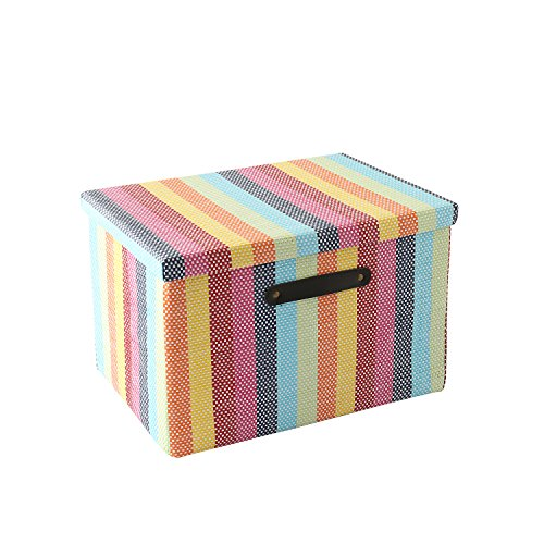 Large Fabric Storage Box with Lid and Leather Handles by Tegance,Decorative Collapsible Storage Bin for Office, Home, Closet, Toys Rainbow Color 16x11x10.6 Inch (16(L) x11(W) x10.6(H))