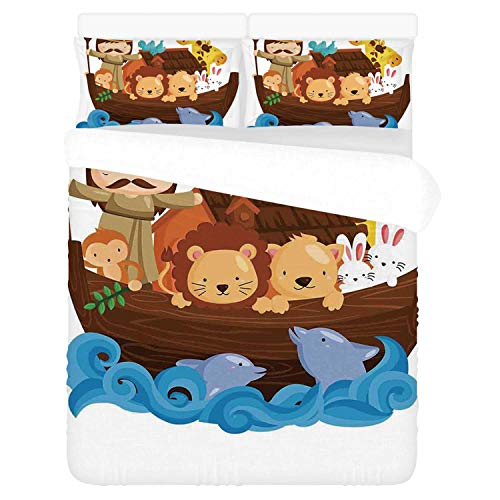 Religious Comfortable 3 Piece Bedding Set,Historical Story of The Ark with All Animals Saving Nature Grace Illustration for Home,Duvet Cover:86