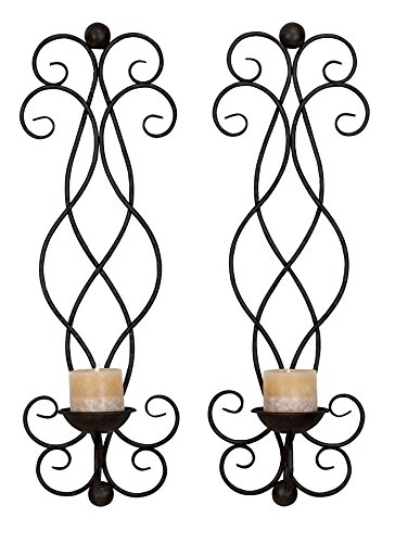 Deco 79 Metal Candle Sconce, 21 by 4-Inch, Set of 2 34798