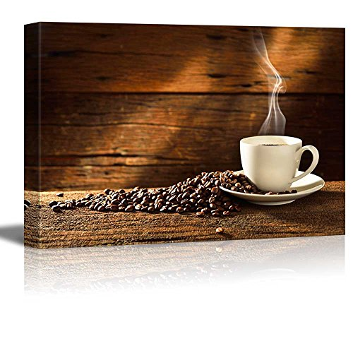 "Canvas Prints Wall Art - Coffee Cup and Coffee Beans on Old Wooden Table | Modern Wall Decor/ Home Decor Stretched Gallery Canvas Wraps Giclee Print & Ready to Hang - 24"" x 36"""